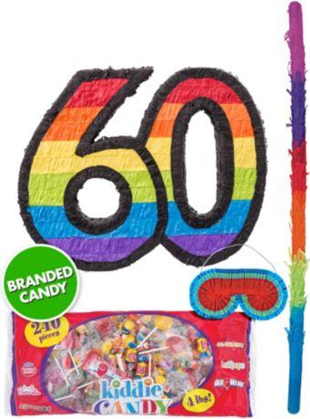 Rainbow Number 60 Pinata Kit
