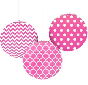 Bright Pink Patterned Paper Lanterns 3ct