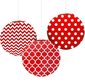 Red Patterned Paper Lanterns 3ct