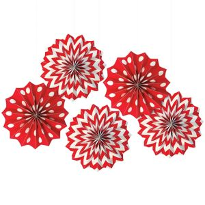Red Polka Dot & Chevron Mini Paper Fan Decorations 5ct