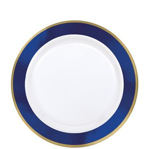 Gold & Royal Blue Border Premium Plastic Lunch Plates 10ct