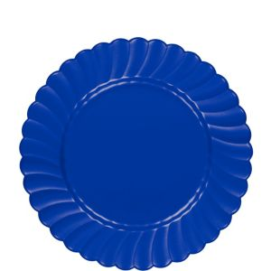 Royal Blue Premium Plastic Scalloped Lunch Plates 12ct