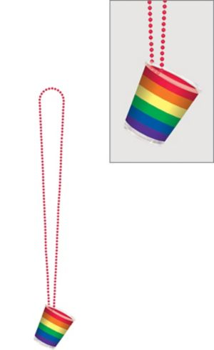 Rainbow Shot Glass Bead Necklace