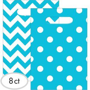 Caribbean Blue Polka Dot & Chevron Favor Bags 8ct