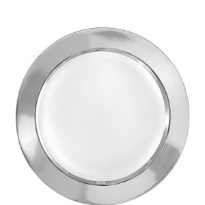 White Silver Border Premium Plastic Lunch Plates 10ct