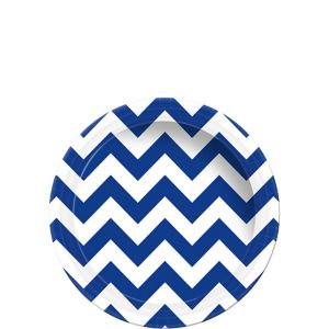 Royal Blue Chevron Paper Dessert Plates 8ct
