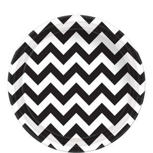 Black & White Chevron Paper Lunch Plates 8ct