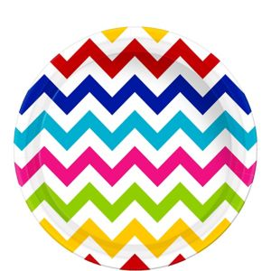 Bright Rainbow Chevron Paper Lunch Plates 8ct