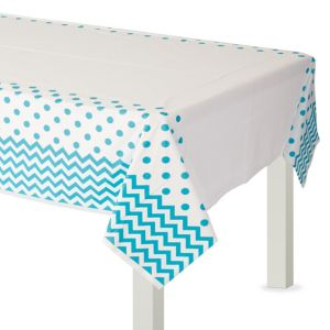 Caribbean Blue Polka Dot & Chevron Plastic Table Cover