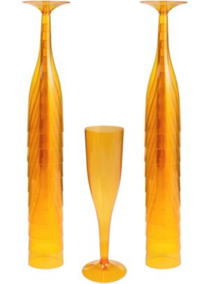 Big Party Pack Orange Plastic Champagne Flutes 20ct