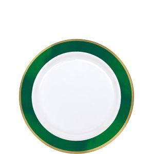 Gold & Festive Green Border Premium Plastic Appetizer Plates 10ct