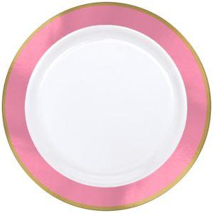 gold pink border premium plastic dinner plates 10ct