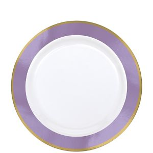 Gold & Lavender Border Premium Plastic Lunch Plates 10ct