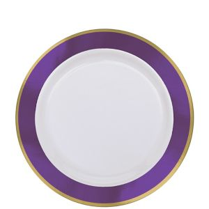 Gold & Purple Border Premium Plastic Lunch Plates 10ct