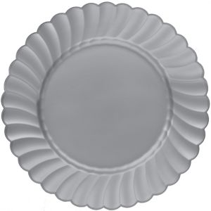 Silver Premium Plastic Scalloped Dinner Plates 12ct