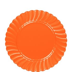 Orange Premium Plastic Scalloped Lunch Plates 12ct