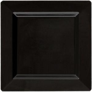 Black Premium Plastic Square Dinner Plates 10ct