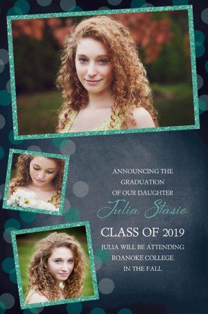 Custom Glitter Mint Frames and Dots Graduation Photo Announcement