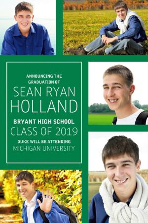 Custom Classic Green Collage Graduation Photo Announcement