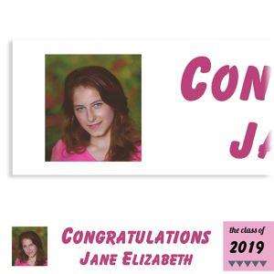 Custom Pink Pennant Banner Graduation Photo Banner