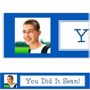 Custom Classic Royal Blue Graduation Photo Banner