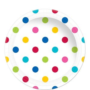 Bright Polka Dot Paper Lunch Plates 8ct