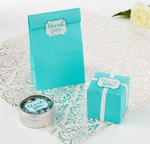 Robin's Egg Blue Scroll Thank You Sticker Seals 50ct