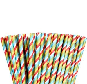 Bright Striped Paper Straws 80ct