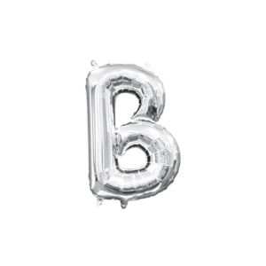 Air-Filled Silver Letter B Balloon