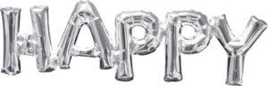 Air-Filled Silver Happy Letter Balloon Banner