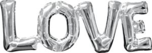 Air-Filled Silver Love Letter Balloon Banner