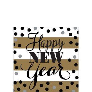 Golden Pattern New Year's Beverage Napkins 16ct