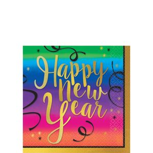 Colorful New Year's Beverage Napkins 36ct