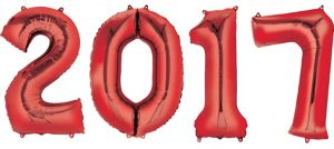 Red 2017 Number Balloons 4pc