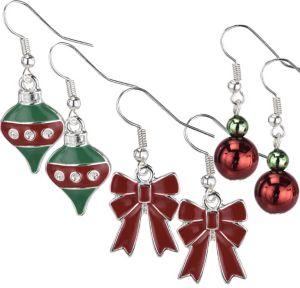 Bow & Ornament Christmas Earrings Set 6pc