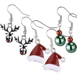 Santa Hat & Reindeer Christmas Earrings Set 6pc