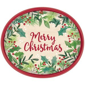 Holly Merry Christmas Oval Plates 8ct
