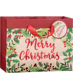 Small Holly Merry Christmas Gift Bag