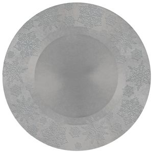 Silver Embossed Snowflake Round Plastic Charger