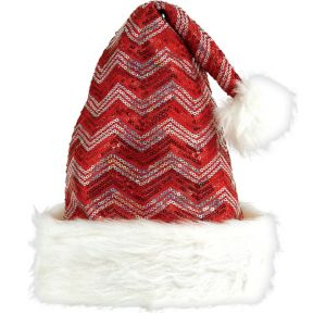 Sequin Red & White Chevron Santa Hat