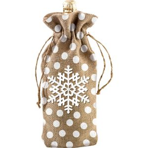 Snowflake Burlap Wine Bag