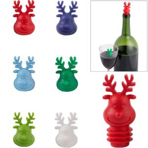 Reindeer Wine Stopper & Markers Set 7pc