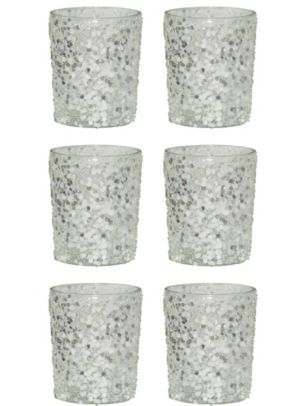 Silver Glitter Votive Candle Holders 6ct