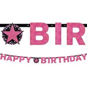 Prismatic Happy Birthday Banner - Pink Sparkling Celebration