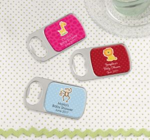 Personalized Baby Shower Bottle Openers - Silver (Printed Epoxy Label) (Sky Blue, Scallops)