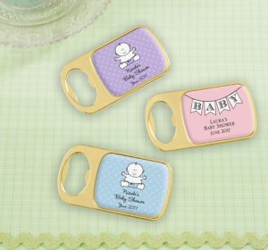 Personalized Baby Shower Bottle Openers - Gold (Printed Epoxy Label) (Pink, Pram)