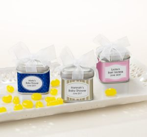 Personalized Baby Shower Favor Tins with Bows, Set of 12 (Printed Label) (Lavender, Mod Dots)
