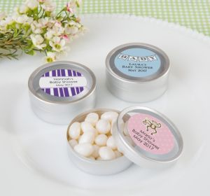 Personalized Round Candy Tins - Silver, Set of 12 (Printed Label) (Lavender, Scallops)