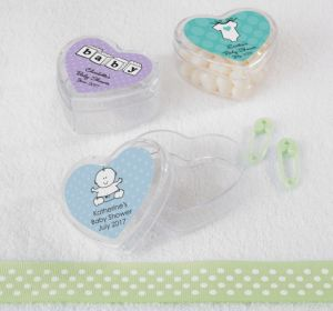 Personalized Baby Shower Heart-Shaped Plastic Favor Boxes, Set of 12 (Printed Label) (Lavender, Stork)