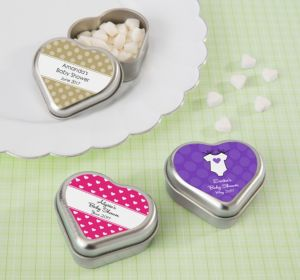 Personalized Baby Shower Heart-Shaped Mint Tins with Candy (Printed Label) (Silver, Stork)